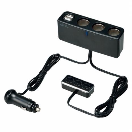【預購】日本SEIWA 2.4A USBx2+3孔 延長線黏貼感應式開關 電源擴充插座 F256