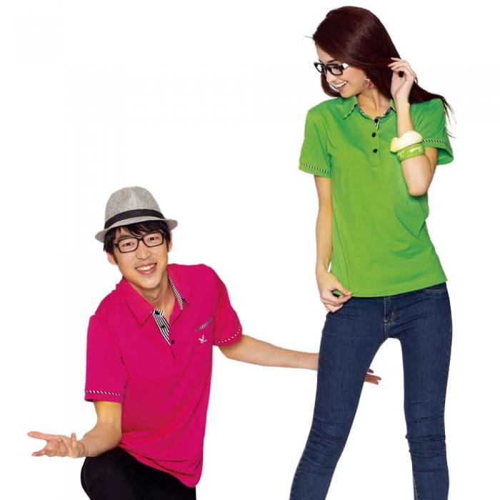 【LEIDOOE】76269 斜紋領青綠底女款短袖POLO衫S