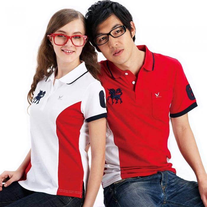 【LEIDOOE】76238 白底紅腰邊女款短袖POLO衫L