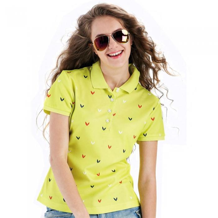 【LEIDOOE】76280 品牌經典款女版短袖POLO衫-黃