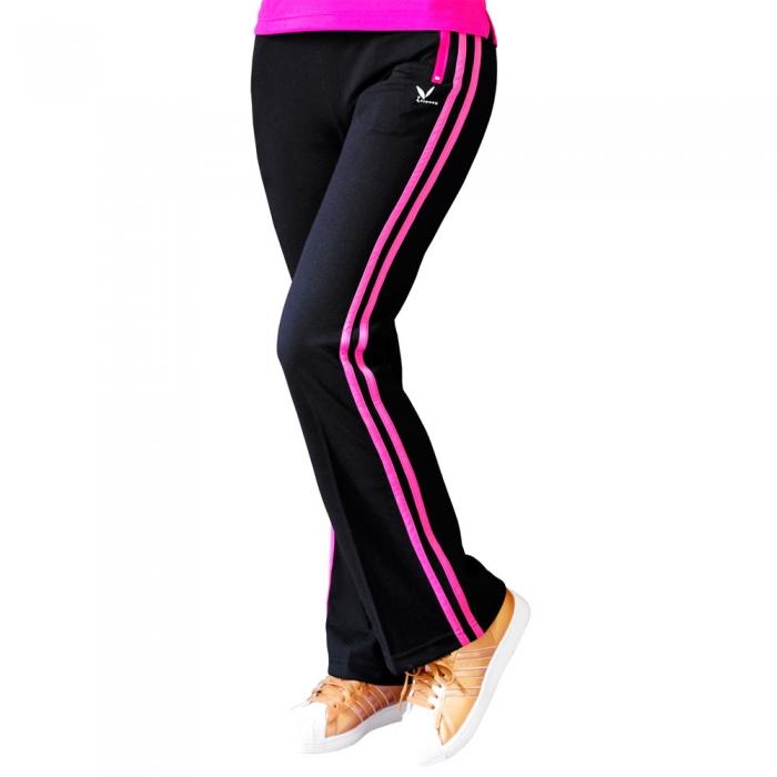 【LEIDOOE】15215 女款精梳休閒運動喇叭褲-黑(桃紅邊)XL