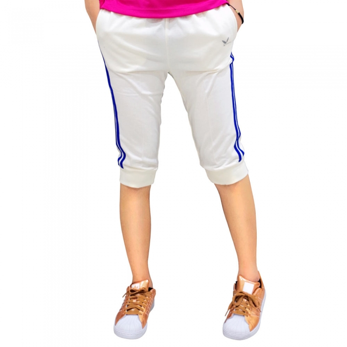 【LEIDOOE】17203 女款休閒運動縮口五分褲-白(藍邊)XL