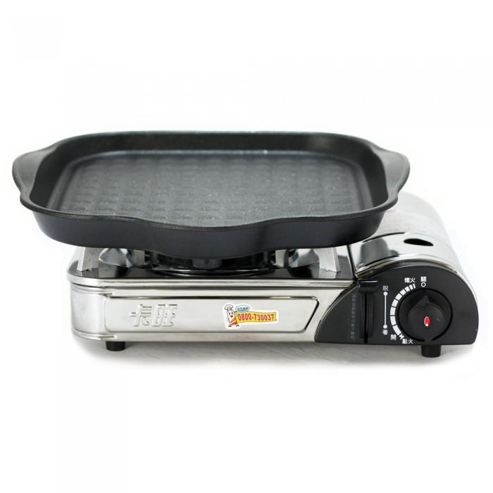 K-ONE卡旺-總舖師不鏽鋼卡式爐K1-1788S + 韓國HANARO火烤兩用方形烤盤