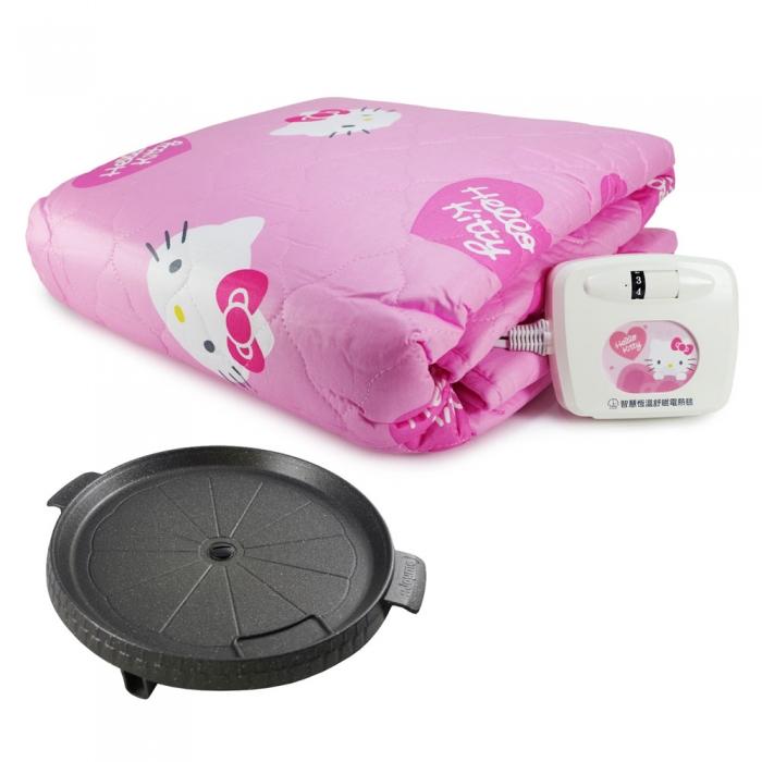 Hello Kitty 智慧恆溫舒眠電熱毯(NHB-303)+韓國Joyme火烤兩用圓形烤盤(NU-O)