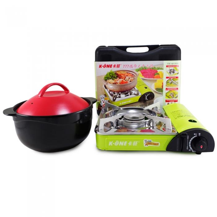 好料理3.8L養生耐熱鍋(HL-3800R/B)+卡旺-777攜帶式卡式爐 (K1-777S)
