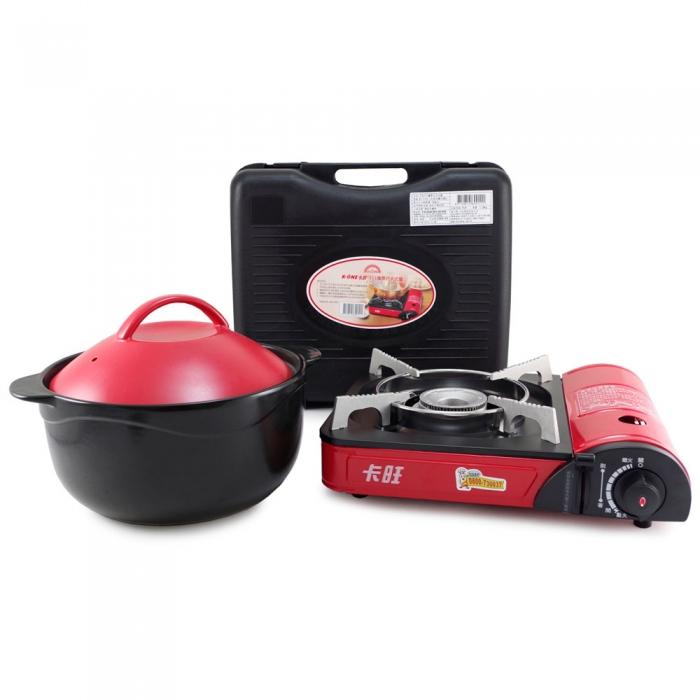 好料理3.8L養生耐熱鍋(HL-3800R/B)+卡旺-111攜帶式卡式爐 (K1-111V)