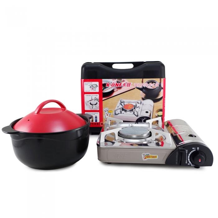好料理 3.8L 養生耐熱鍋 (HL-3800R/B)+卡旺-遠紅外線瓦斯爐(K1-1200V)