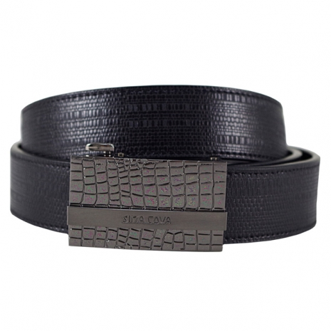 【SINA COVA】老船長不規則塊紋自動扣牛皮紳士皮帶SC11506-3-黑色