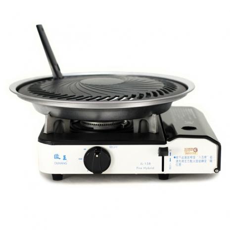 歐王OUWANG-遠紅外線混雙卡式爐JL-158(附PE外盒) + 超級燒烤盤K1BQ-007