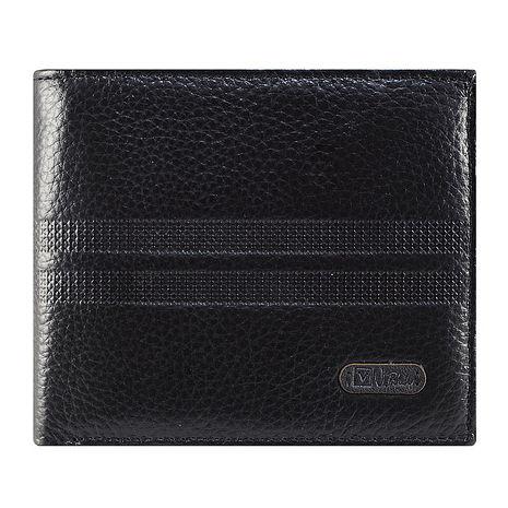 【Valentino Rudy】荔紋格狀雙線牛皮短皮夾-黑(Z7846)