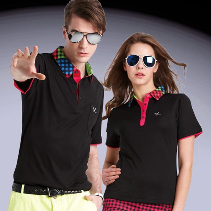 【LEIDOOE】立領格紋拼接男版短袖POLO衫(16523)黑色5L