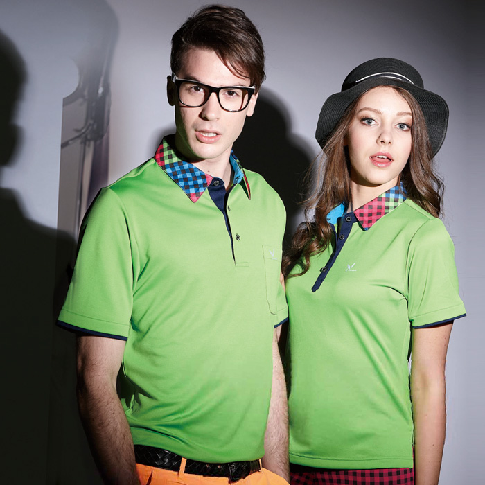 【LEIDOOE】立領格紋拼接女版短袖POLO衫(16626)綠色5L