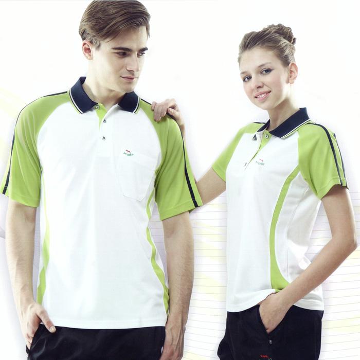 【Per GIBO】吸溼排汗女版短POLO衫(PK132841)米白˙芥綠S