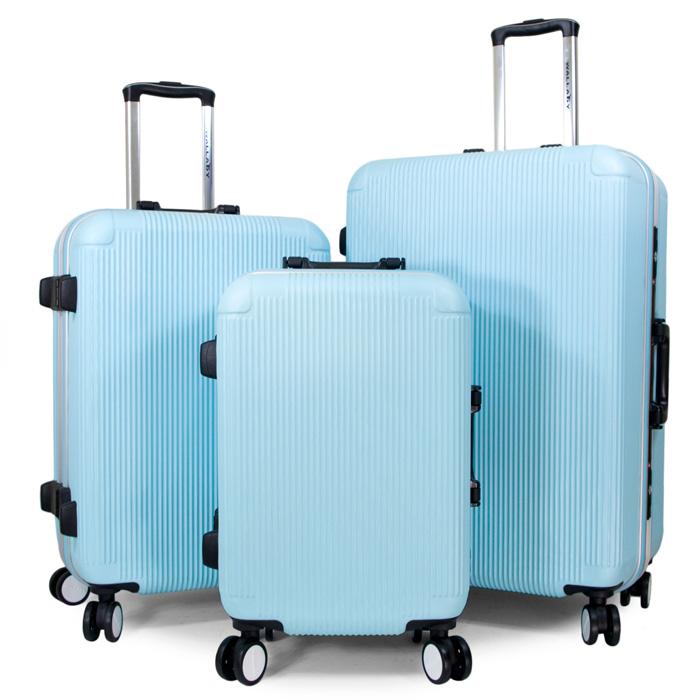 【WALLABY】20+24+28吋直條紋ABS鋁框行李箱/高光藍(HTX-1503-20+24+28BL)