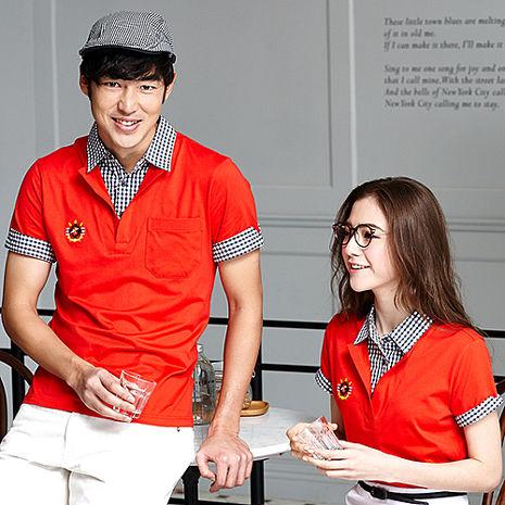 【LEIDOOE】緋紅格紋領休閒男款短袖POLO衫16532