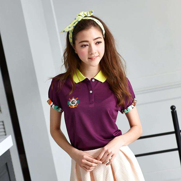 【LEIDOOE】迷彩袖經典休閒女款短袖POLO衫-紫16650XL