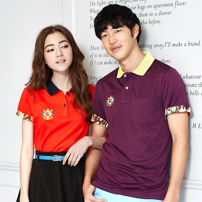 【LEIDOOE】迷彩袖經典休閒女款短袖POLO衫-紅166522XL