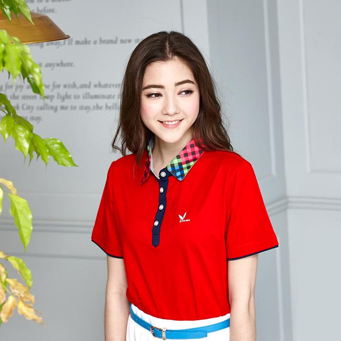 【LEIDOOE】立領格紋拼接女版短袖POLO衫-紅色166632XL