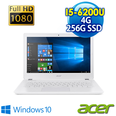 ★筆電瘋狂購★ACER V3-372-556K 13.3吋FHD霧面 白(I5-6200U/4G/256G SSD/Win10/AC網卡)