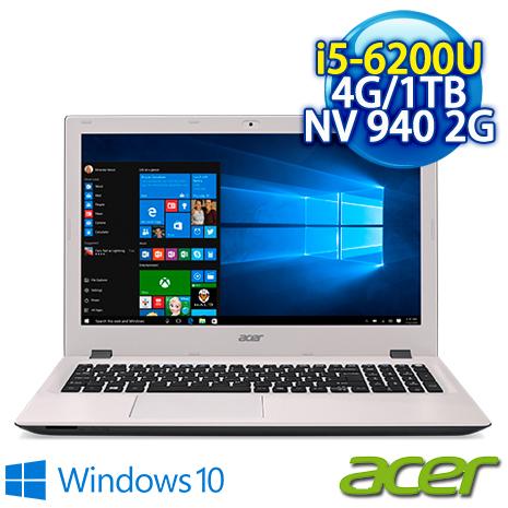 ★瘋狂下殺 2/23前再現折一千★  Acer E5-574G-5381 15.6吋FHD 外黑內白 (I5-6200U/4G/1TB/NV 940 2G/DVD/15.6