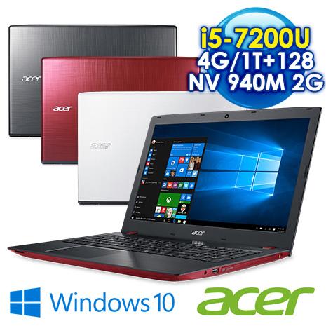 """【瘋狂下殺】ACER E5-575G 7代處理器系列15.6吋FHD(I5-7200U/4G DDR4/128G SSD+1TB/NV 940MX DDR5 2G/15.6""""FHD/Win10)紅"""