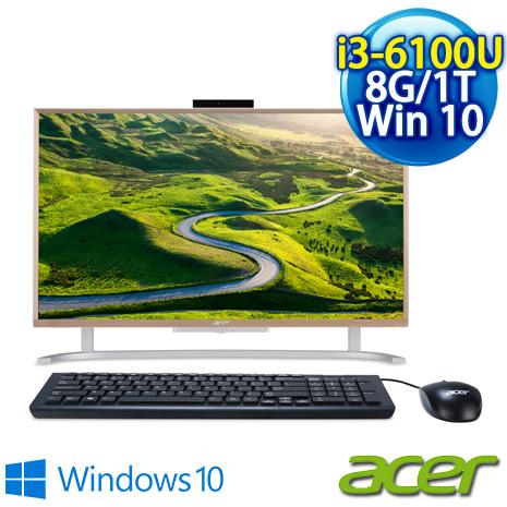 【Acer】Acer PC All in one C22-760 桌上型電腦 (i3-6100U/21.5吋非觸控/8G/1TB/Win10 )