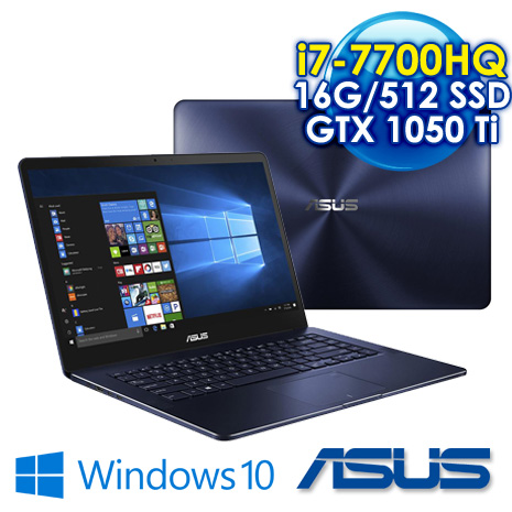 【瘋狂下殺】ASUS UX550VE-0021A7700HQ i7-7700HQ/8+8G DDR4/512G M.2 SSD/GTX 1050 Ti 4G/15.6吋FHD