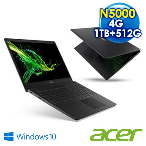 【升級混碟再送4G】ACER Aspire 3 A315-34-P2ML 黑  特仕版    (N5000處理器/ 4G /1TB+PCIe 512GB SSD / 15.6