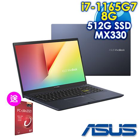 【安心三重送】ASUS華碩 X513EP-0281K1165G7  15.6吋筆電-酷玩黑(i7-1165G7/8G/512G  SSD/MX330-2G)