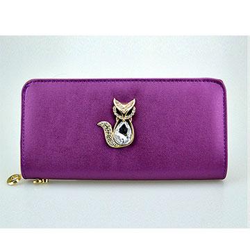 (共三色)【L.Elegant】磨砂鑲鑽狐狸長款皮夾零錢包*特賣*-服飾‧鞋包‧內著‧手錶-myfone購物