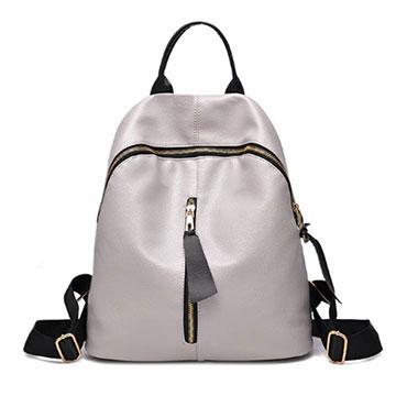 (共二色)【L.Elegant】率真簡約時尚雙肩後背包灰色