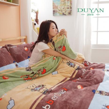 特價↘DUYAN《童真樂熊》加厚法蘭絨鋪棉床包被套-雙人加大四件組