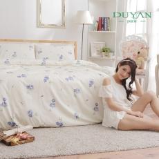 ↘DUYAN~夏日玫瑰~藍~雙人加大四件式精梳純棉床包被套組
