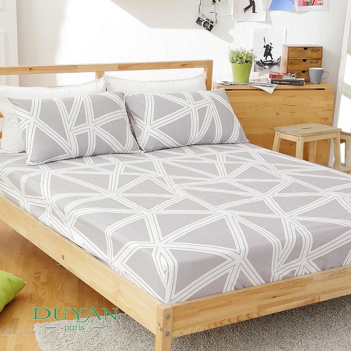 DUYAN《酷淨風尚》天然嚴選純棉雙人加大三件式床包組 特賣
