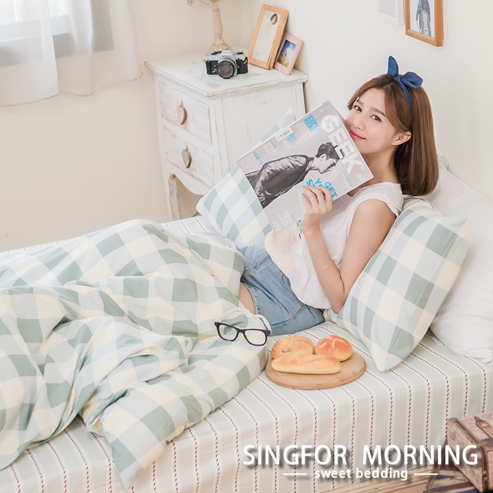 幸福晨光《青春秘境》雙人四件式雲絲絨床包被套組