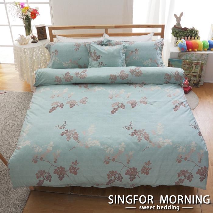 幸福晨光《月夜湖光》雙人四件式雲絲絨兩用被床包組 特賣