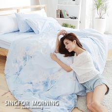 幸福晨光~水戀月燦~雙人四件式雲絲絨兩用被床包組
