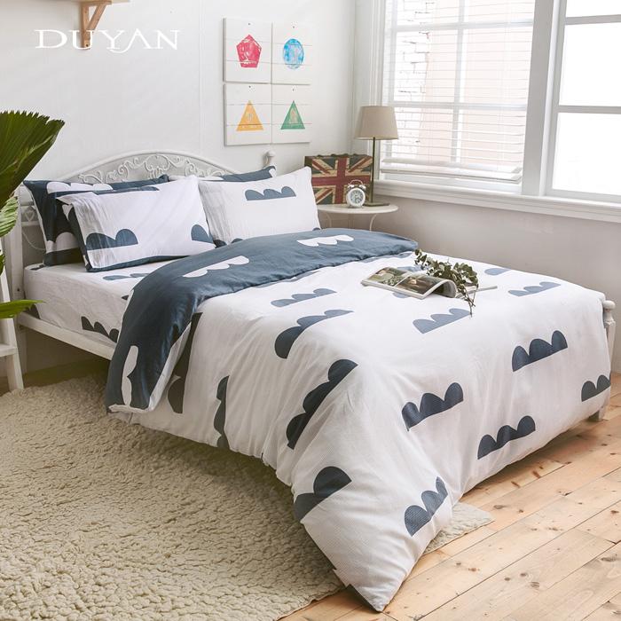 《DUYAN 竹漾》台灣製100%純棉雙人四件式AB版舖棉兩用被床包組- 天空之城