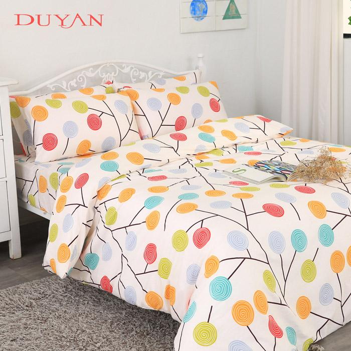 《DUYAN 竹漾》台灣製100%純棉雙人四件式舖棉兩用被床包組-繽紛碧翠