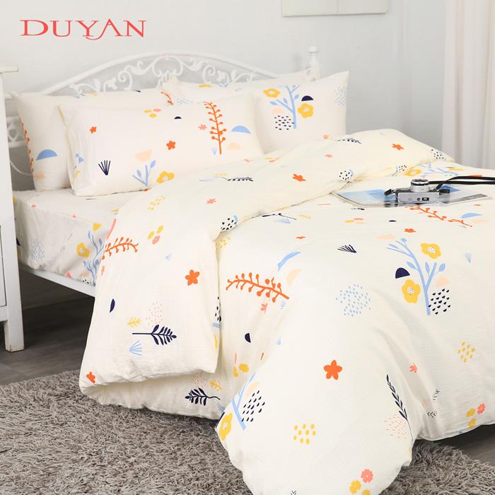 《DUYAN 竹漾》台灣製100%純棉雙人四件式舖棉兩用被床包組-四季花香