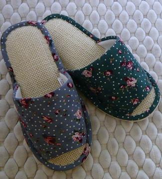 (e鞋院)【歐風夏日】亞麻柔軟室內拖鞋
