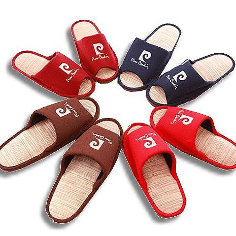 (e鞋院)皮爾卡登紙蓆室內拖鞋(任選6雙)藍L*3暗紅M*3