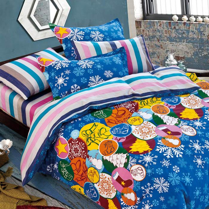 雙人【FOCA-叮噹時節】100%精梳純棉四件式兩用被床包組-特賣