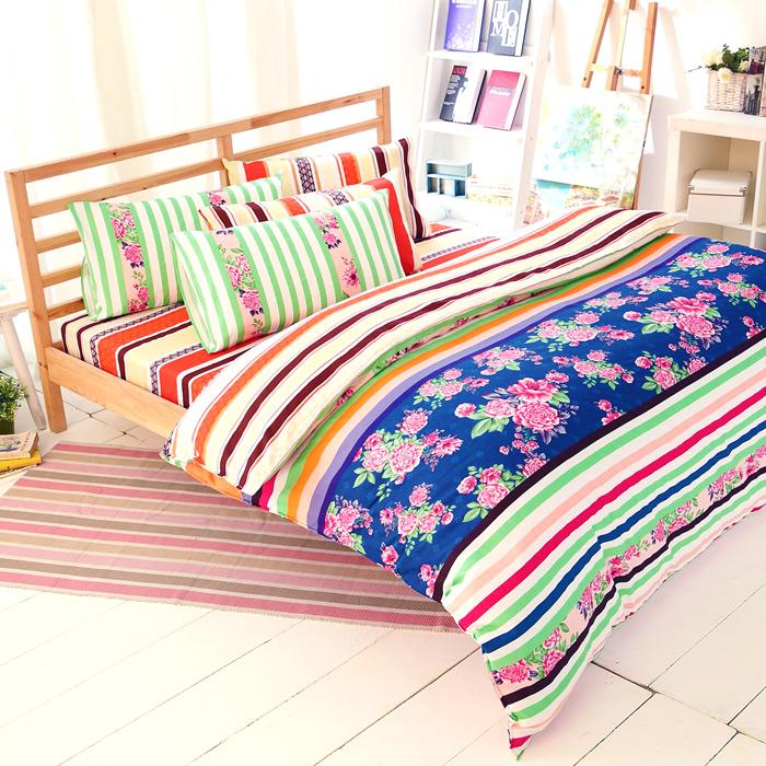 特賣-【FOCA-年華似景】加大精梳純棉兩用被床包組(贈同尺寸保潔墊x1)