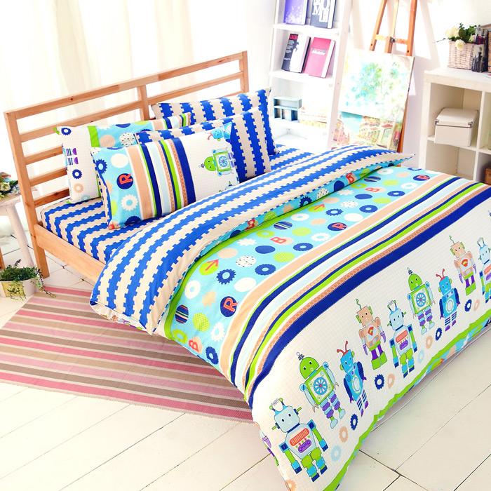 特賣-【FOCA-快樂機器人】加大精梳純棉兩用被床包組(贈同尺寸保潔墊x1)