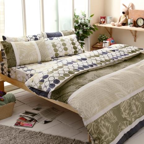 特賣-【FOCA-格林霏語】加大精梳純棉兩用被床包組(贈同尺寸保潔墊x1)