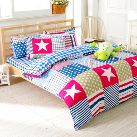 特賣-【FOCA-歡樂旅行】雙人精梳純棉兩用被床包組(贈同尺寸保潔墊x1)