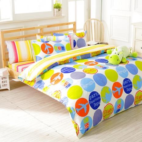 特賣-【FOCA-悠閒時刻】加大精梳純棉兩用被床包組(贈同尺寸保潔墊x1)