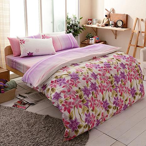 特賣-【FOCA-茵茵花香】雙人精梳純棉兩用被床包組(贈雙人羽絲絨被x1)