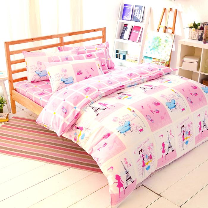 【FOCA-舞躍芭比】特大精梳純棉四件式兩用被床包組-APP